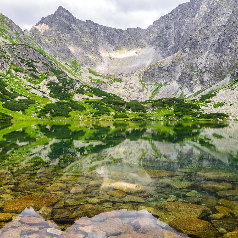 Tarn Temnosmrečinské pleso in High Tatras mountains, Slovakia