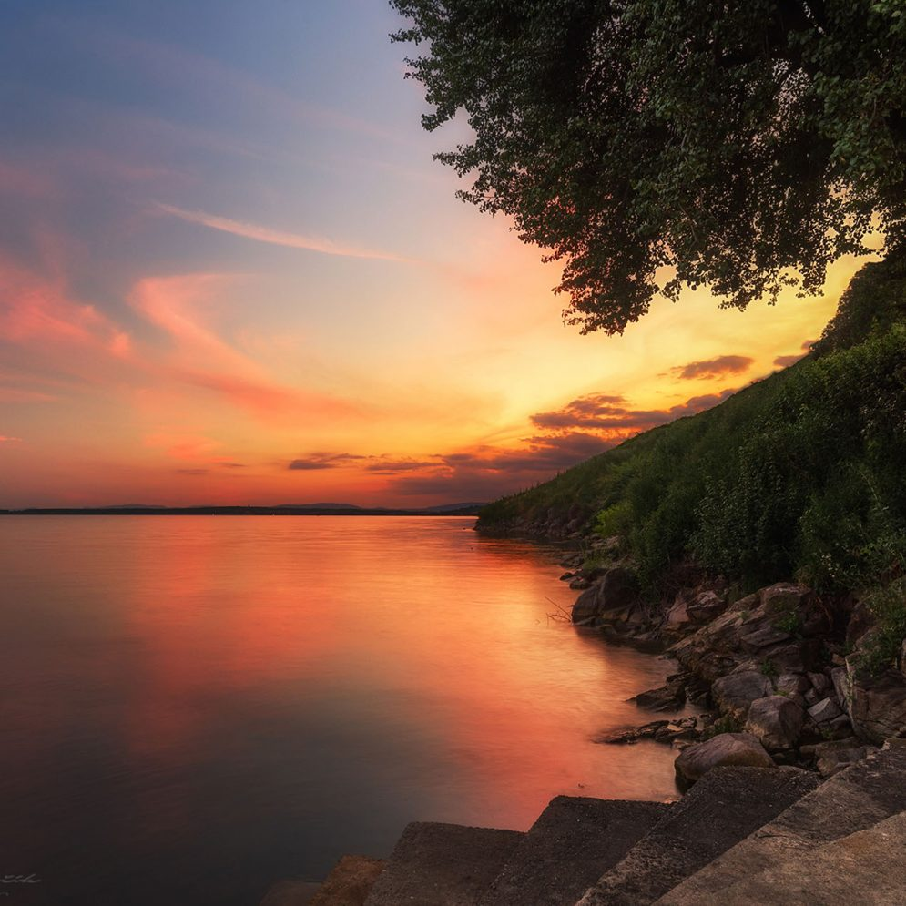 Sunset at reservoir Zemplínska Šírava, Slovakia