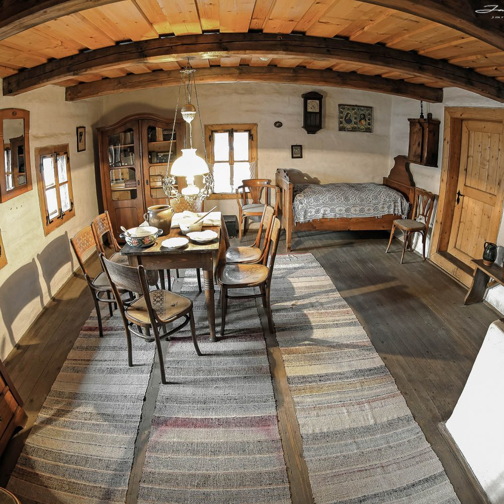 Traditional interior of slovak rural house in open-air museum Pribylina