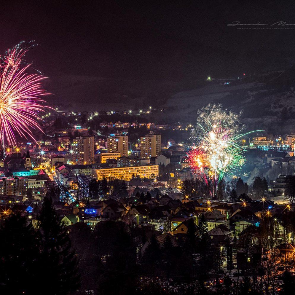 Fireworks over town Ružomberok